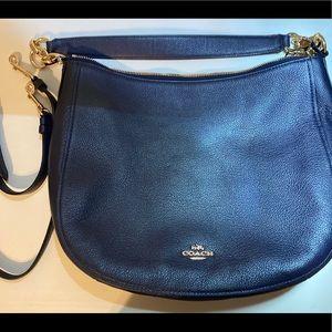 Coach Chelsea Pebble Navy/Gold Leather Hobo Bag